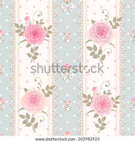 Seamless striped polka dot pattern with roses, laces and bows. Vector floral shabby chic style background. - stock vector
