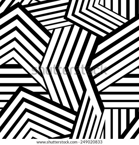 Seamless stripped geometric background. Black and White Vector illustration. Mix of lines - stock vector