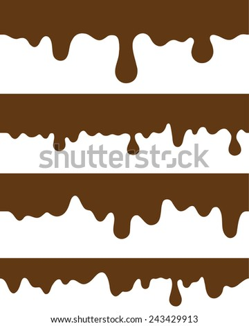 seamless strips melted chocolate - stock vector