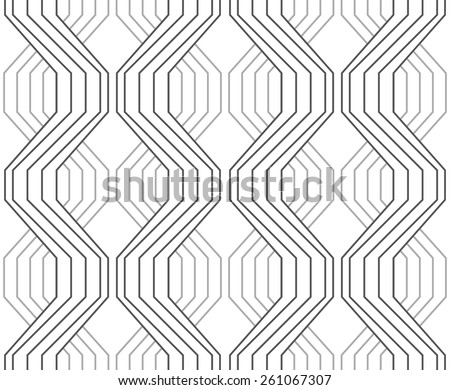 Seamless stylish geometric background. Modern abstract pattern. Flat monochrome design.Gray ornament with striped braids. - stock vector