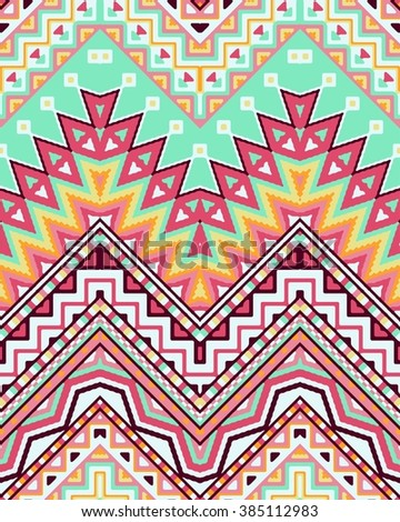 Seamless stylized chevron pattern with ethnic and tribal ornament. Vector bright colors boho fashion illustration. - stock vector