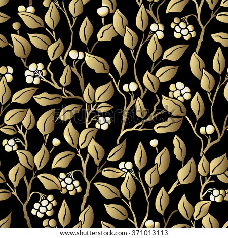 Seamless stylized leaf pattern. Seamless decorative template texture with leaves. Black and gold. Golden Seamless Wallpaper - stock vector