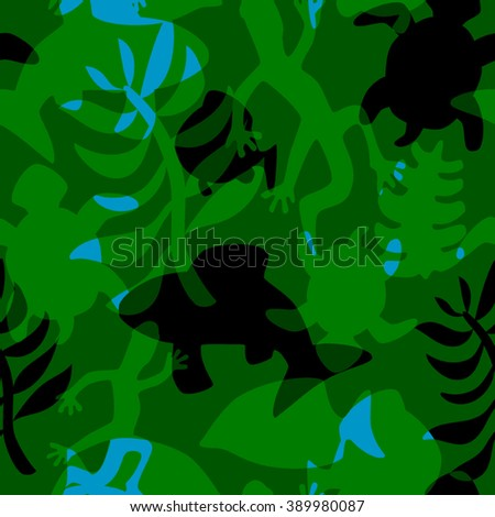 seamless stylized pattern with intersecting silhouettes of fishes, reptiles and plants making a kind of camouflage design  - stock vector
