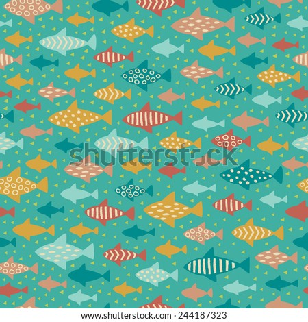 Seamless summer childish pattern. Endless fish background. Template for design and decoration - stock vector