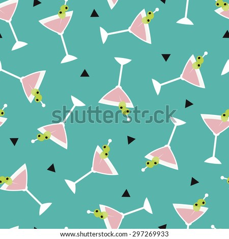 Seamless summer cocktail drinks party glass illustration background pattern in vector - stock vector