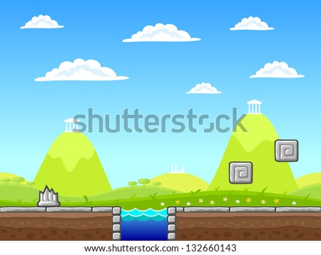 Seamless summer landscape with additional objects. - stock vector