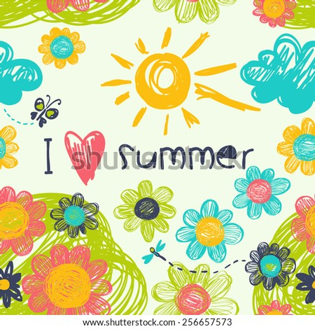 "Seamless summer pattern in the concept of children's drawings. Vector background ""I love the summer"" - stock vector"