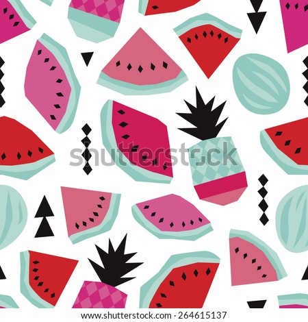 Seamless summer water melon and pineapple trendy bikini beach theme geometric illustration background pattern in vector - stock vector