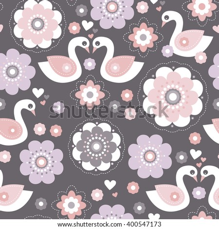 Seamless sweet romantic girls pastel swan blossom design illustration for spring summer background pattern decoration in vector - stock vector