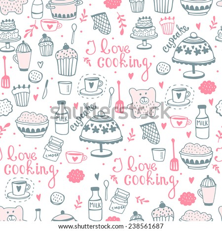 Seamless sweet vector pattern. Kitchen/food background  - stock vector