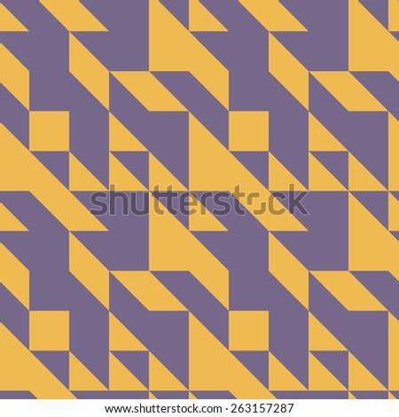 Seamless symmetrical abstract geometric pattern vector illustration. Triangle based shapes. Muted yellow and violet colors. - stock vector