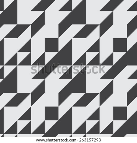 Seamless symmetrical abstract geometric pattern with contrast colors vector illustration. Triangle based shapes. Monochrome. - stock vector