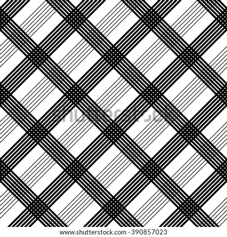 Seamless Tartan Pattern. Vector Black and White Background - stock vector