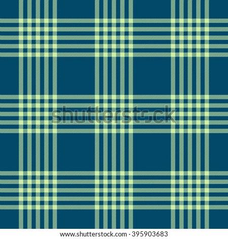 Seamless tartan plaid pattern. Light green twill on dark teal blue background.  - stock vector