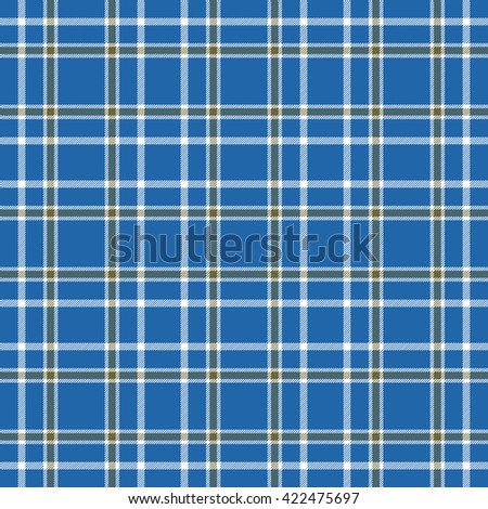 Seamless tartan plaid pattern. White and green stripes on blue background. - stock vector