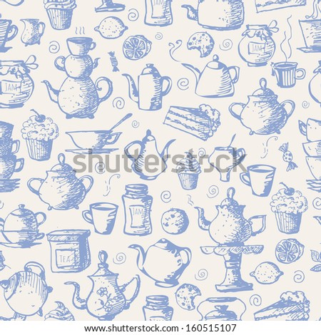 Seamless tea background with cakes, teapots, cups, jam, lemons and candies. Can be used for wallpaper, pattern fills, textile, web page background, surface textures. Vector illustration.  - stock vector