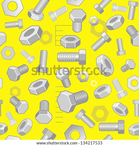 Seamless technical background with screw-nuts and bolts on yellow - stock vector