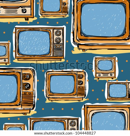 Seamless television  sketch style ; Vector illustration - stock vector