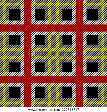Seamless textile pattern. Checkered plaid. Red, black, yellow. Backgrounds & textures shop. - stock vector