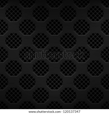 Seamless texture black metal surface dotted octagon perforated background, vector, 10eps. - stock vector