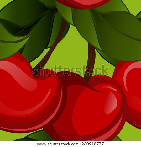 seamless texture - bright juicy fresh cherry fruit vector. Cherries fruit - seamless vector pattern - stock vector