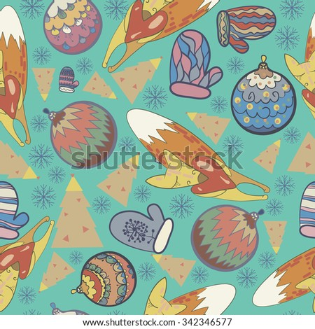 seamless texture, Christmas, Christmas theme, the elements of the new year, mittens, snowflakes, forests, Christmas balls, toys, tree, vector bright color - stock vector