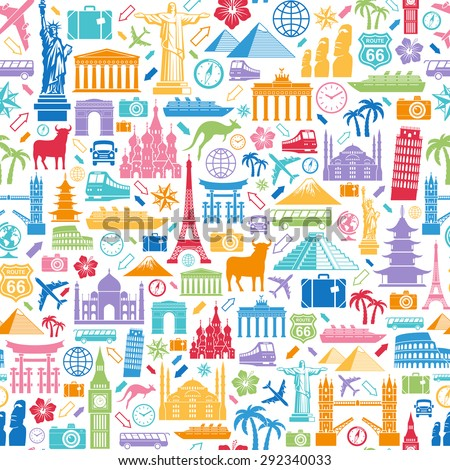 Seamless texture composed of travel related and famous monuments icons - stock vector