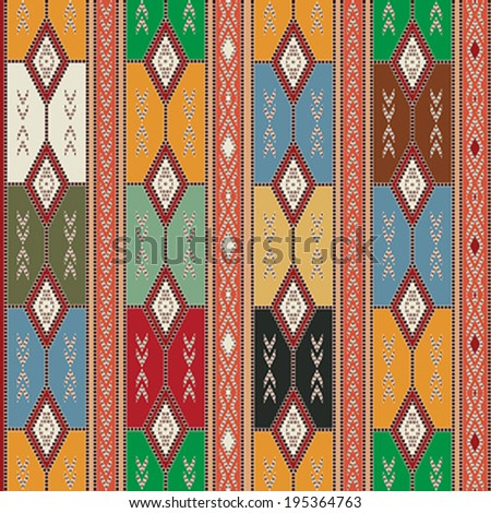 Seamless texture design with Cherokee motif and colors. - stock vector