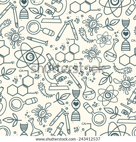 seamless texture for scince, vector illustration, hand drawn doodle style - stock vector
