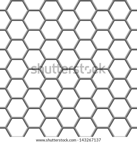 seamless texture gray hex grid on white - stock vector