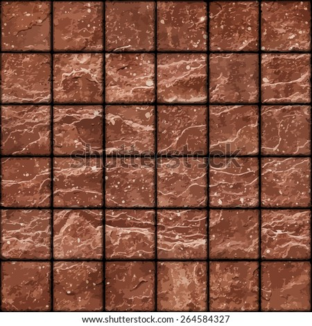 Seamless texture of dirty red stone tiles wall with spots. Eps8 - stock vector