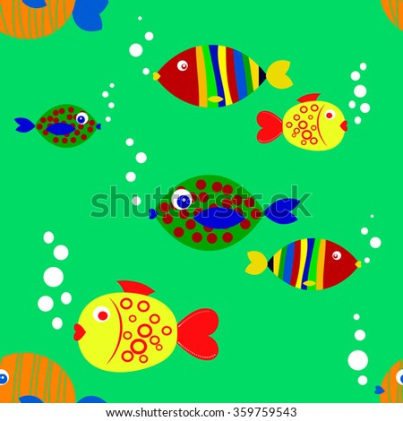 seamless texture of fish on a blue background - stock vector