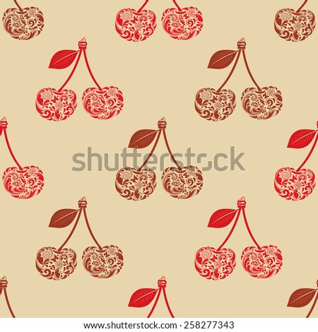 Seamless texture with cherry. ? - stock vector