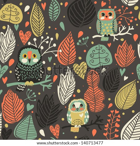 Seamless texture with cute owls and leafs in the night. Endless floral pattern. You can use it in textile design, greeting cards, graphic design. - stock vector