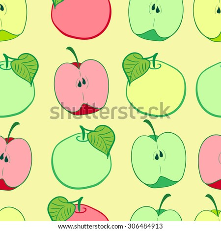 Seamless texture with different grades of apples in a section and whole - stock vector