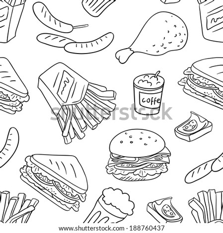 Seamless texture with fast food icons (vector) - stock vector