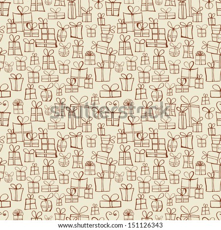Seamless texture with gift boxes. Can be used for wallpaper, pattern fills, textile, web page background, surface textures. Vector illustration.  - stock vector