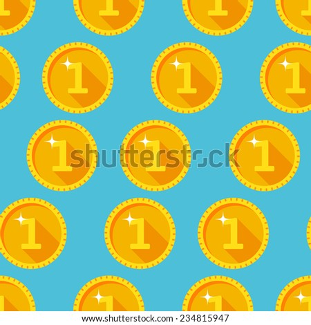 Seamless texture with golden coins flat style - stock vector