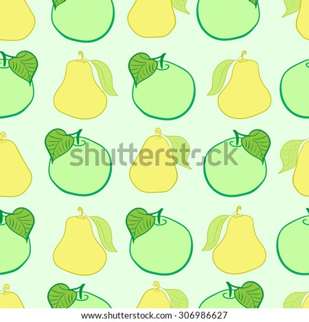 Seamless texture with green apples and yellow pears - stock vector