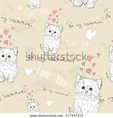 """Seamless texture with """"love"""" elements. Vector illustration EPS8 - stock vector"""