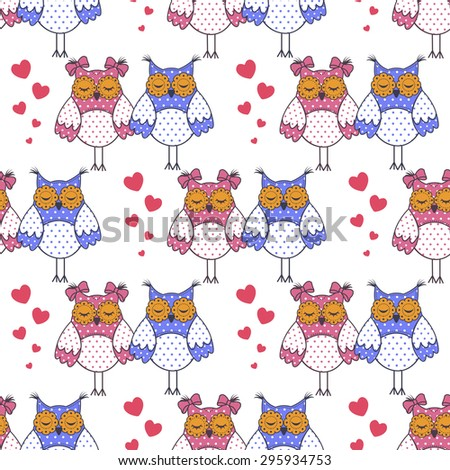 Seamless texture with owls in love on a white background - stock vector