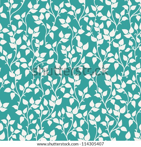 Seamless texture with plants and leaves on blue - stock vector