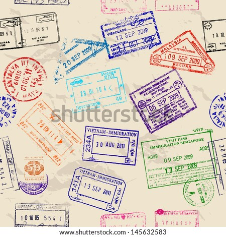 Seamless texture with real visa stamps from 9 countries. Vector illustration EPS8 - stock vector