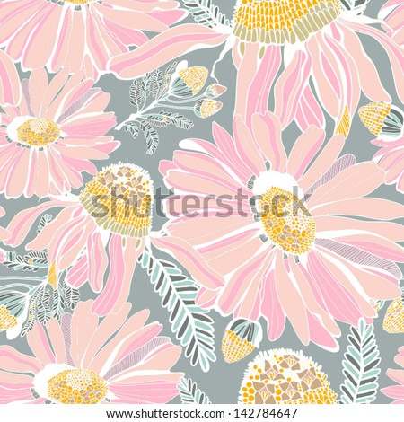 Seamless texture with summer flowers/gentle pink. Seamless pattern can be used for wallpaper, pattern fills, web page background,surface textures. Gorgeous seamless floral background. - stock vector