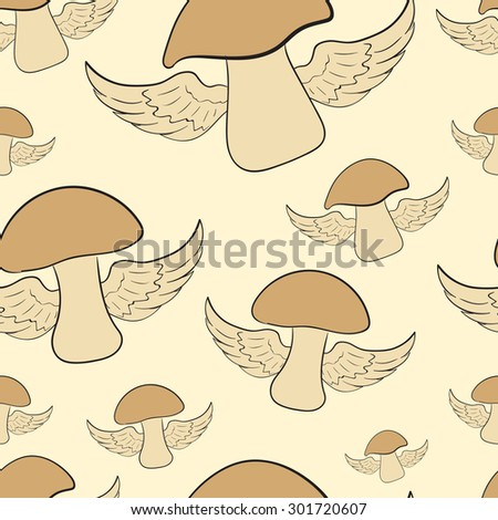 Seamless texture with the flying winged mushrooms - stock vector