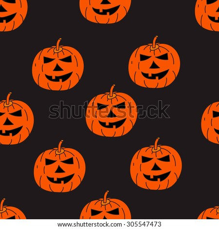 Seamless texture with the image of pumpkins, jack-o'-lantern, Jack, halloween, orange pumpkin on a dark background - stock vector