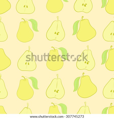 Seamless texture with the whole and cut pears - stock vector