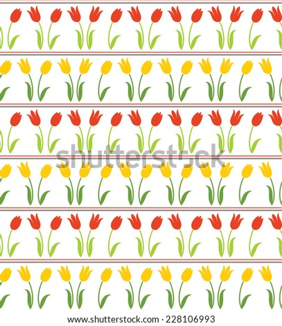 Seamless texture with tulips - stock vector