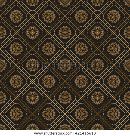 Seamless texture with vintage geometric ornament. Vector lineart pattern. - stock vector