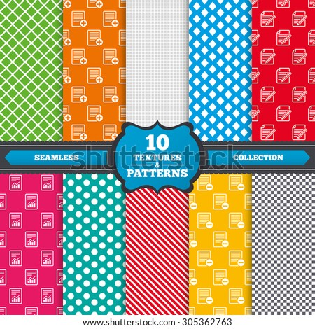 Seamless textures. File document icons. Document with chart or graph symbol. Edit content with pencil sign. Add file. Endless patterns with circles, diagonal lines, chess cell. Vector - stock vector
